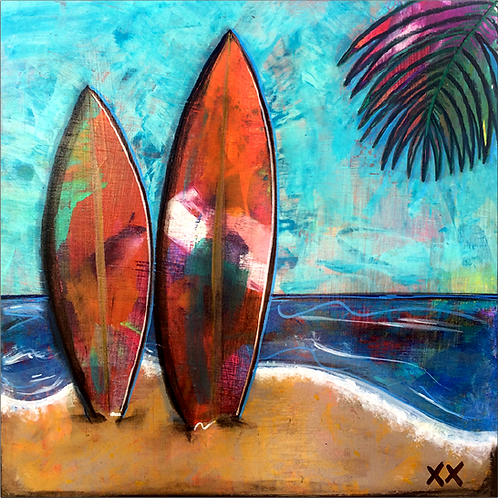 "Greeting Card of ""Surfboard Couple"""