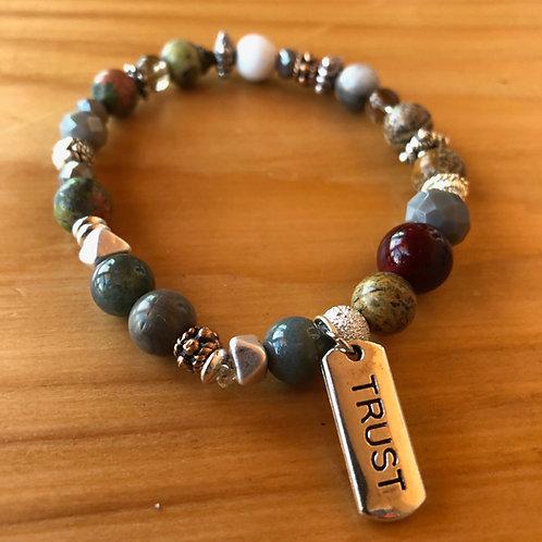 Mixed Gemstone Bracelet with Trust Charm