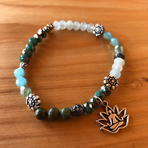 Mixed Stone and Crystals Bracelet with Yoga Charm