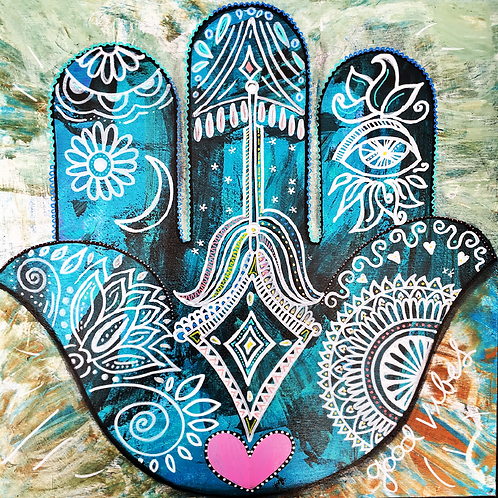 "Print of ""Denim Hamsa"""