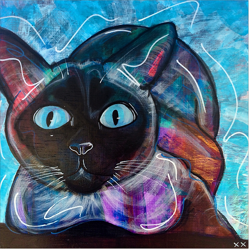 "Print of ""Toshi Cat Blue Eyes"""