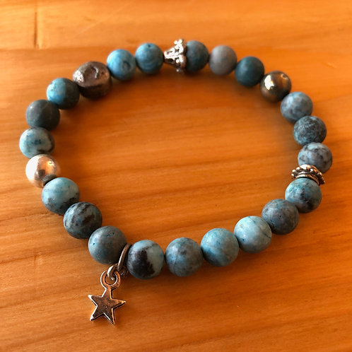 Matte Gemstone Bracelet with Baby Star Charm