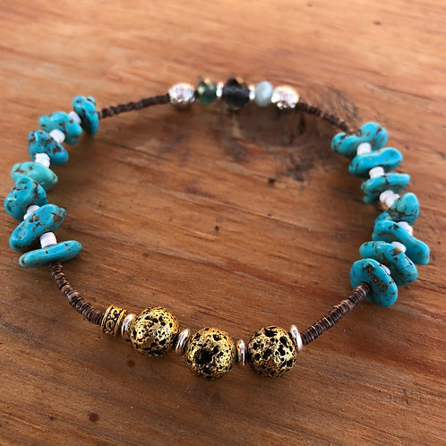 Turquoise Chip Anklet with Gold Lava Rock and Heishi Beads