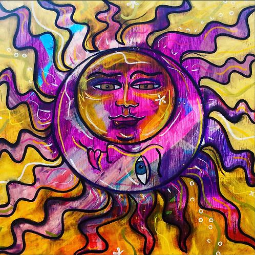 "Greeting Card of ""Caroline Sun and Moon"""