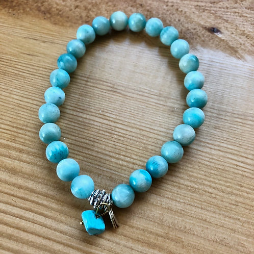 Blue Jade with Gold Leaf and Turquoise Drop Bracelet