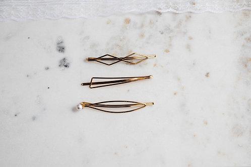 Haarklammern verschiedene Designs gold