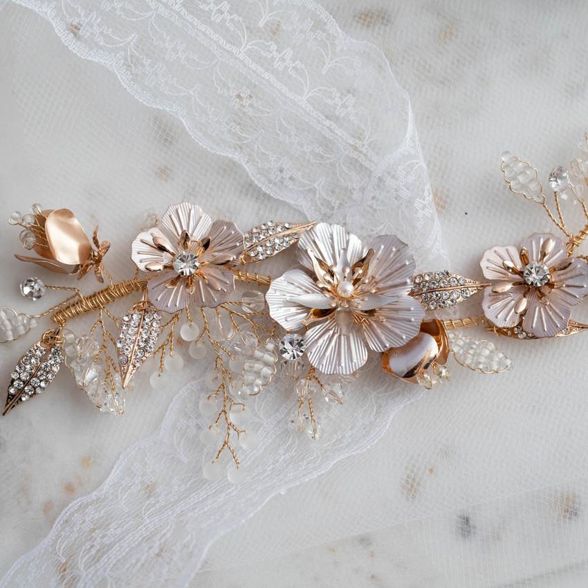 Headpiece Blumen mit Perlen
