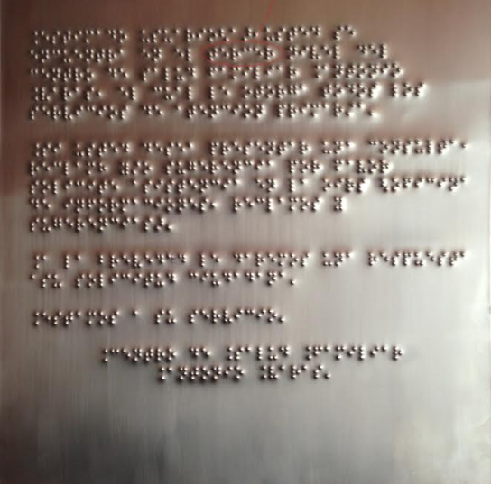PLACA EN ACERO INXO BRAILLE