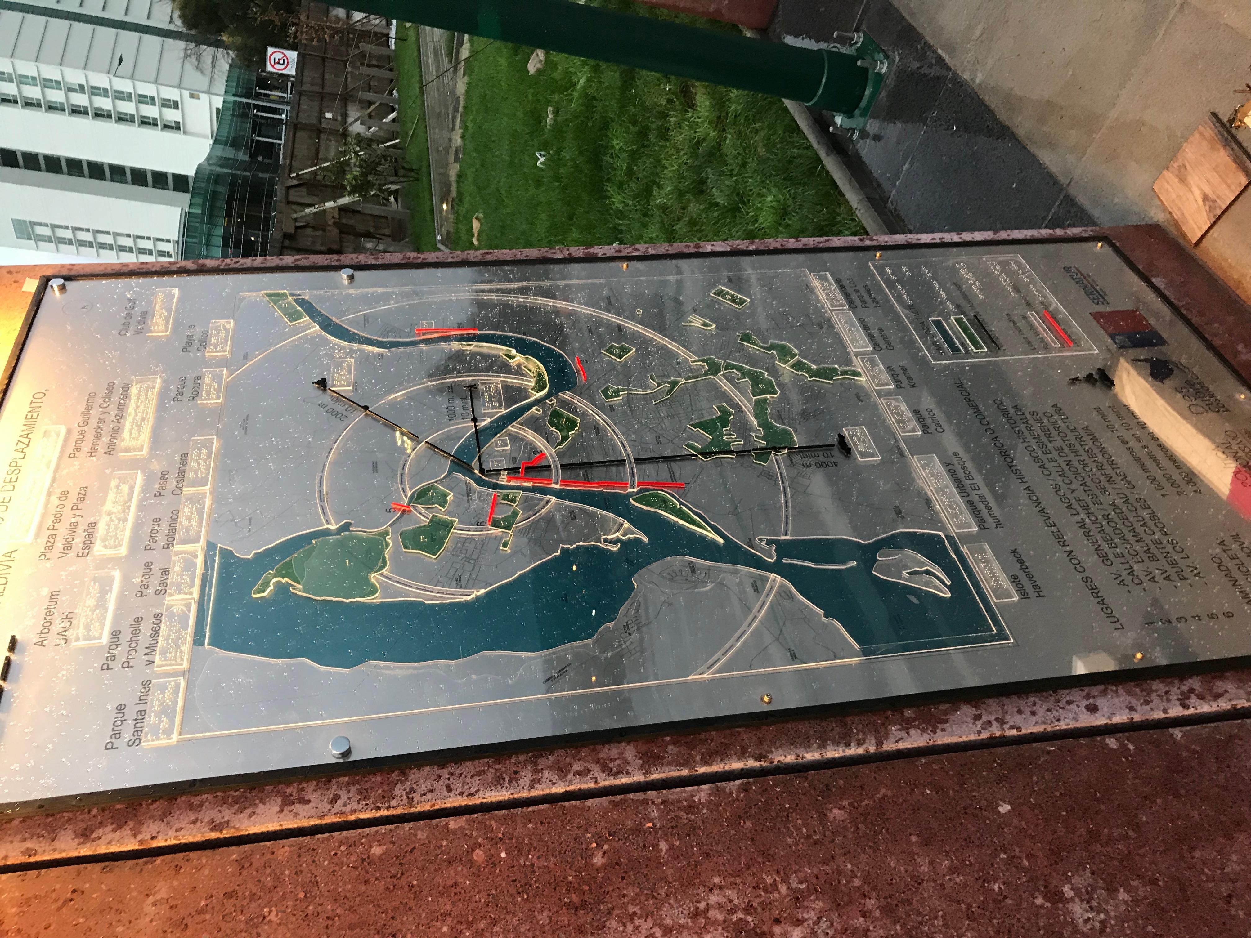Mapa en braille acero y acrilico