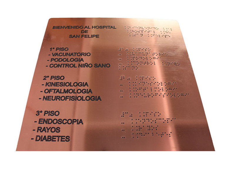 PLACA BRAILLE GRAVOPLIT HOSPITAL