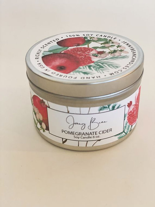 pomegranate cider travel tin candle