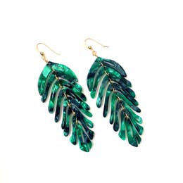 leaf earrings - teal