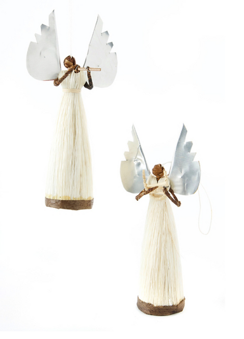 silver winged flying angel ornament