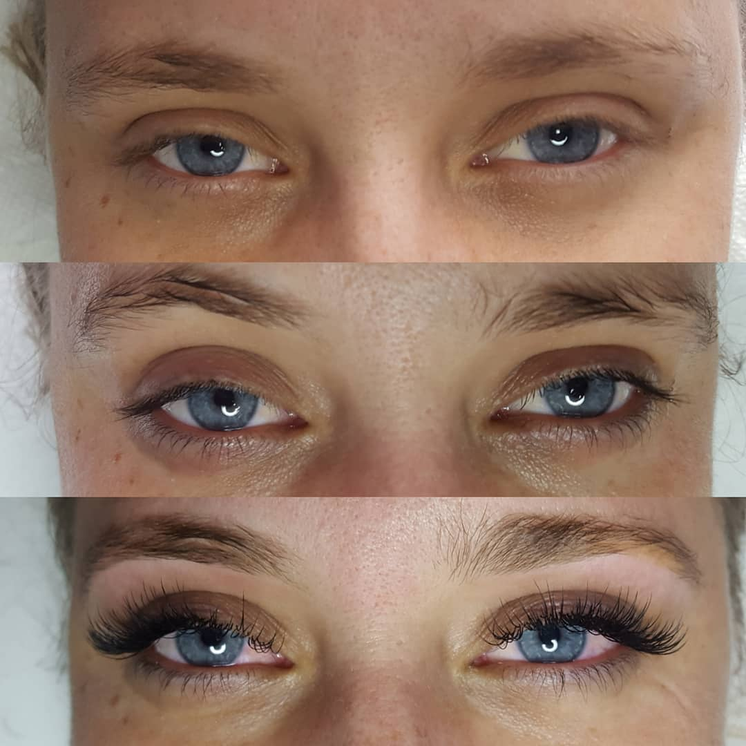 Lash tint with extensions