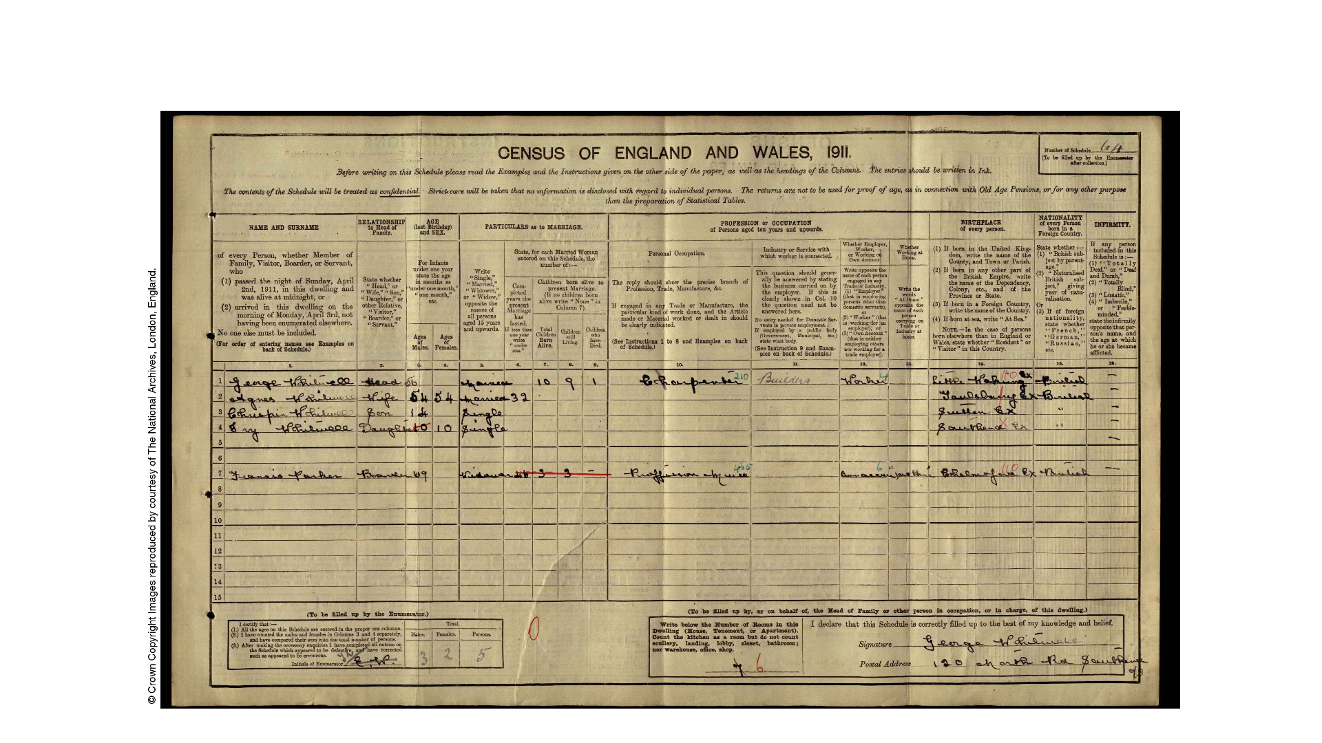 Whitwell 1911 Census 2