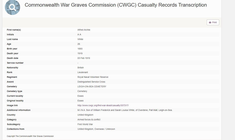 Alfred White CWGC Transcription