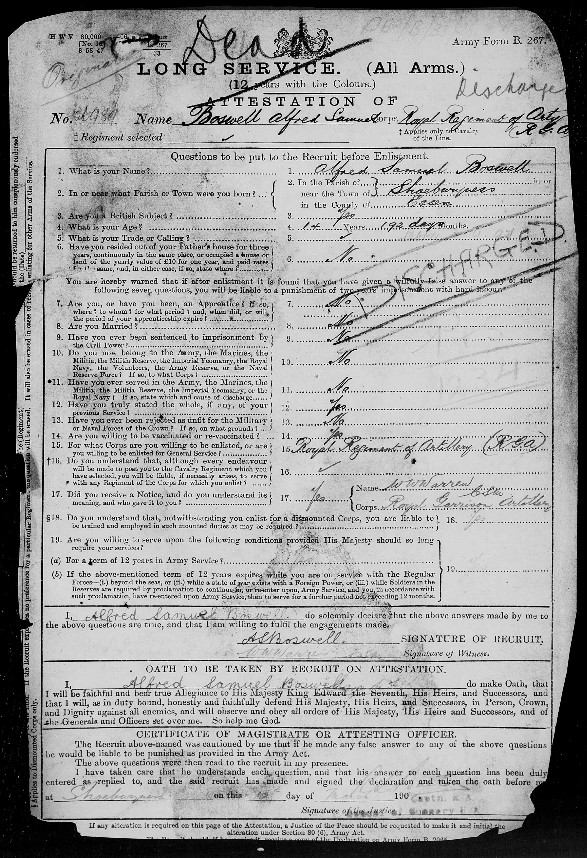 Alfred Boswell Service Record 1