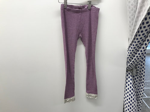 8 Y Tea Collection Girls Purple Striped Leggings