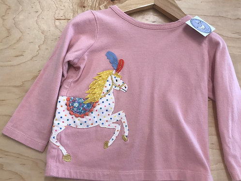 6-12 M Baby Boden Girls Long Sleeve Pink Top