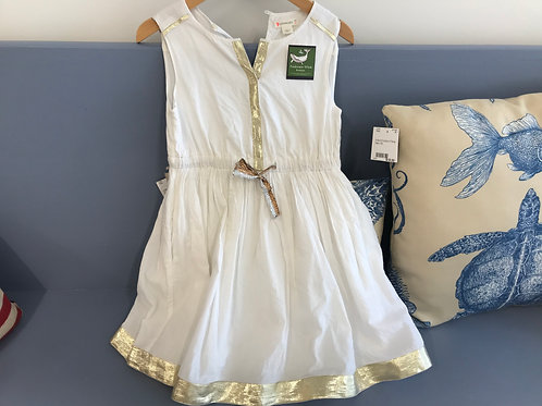 6 Y Crewcuts Girls White Dress w/ Gold Trim