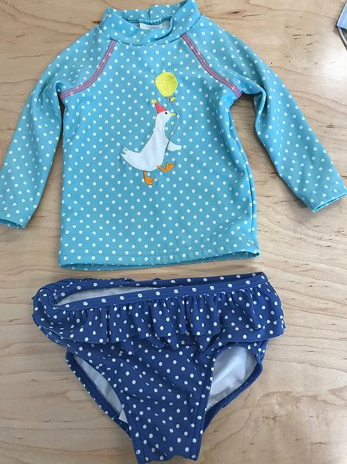 3-6 M Baby Boden Girls Rash Guard Swim Top & Swim Bottoms