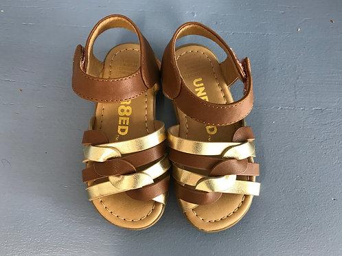 5.5 Unr8ed Toddler Girl Brown & Gold Sandals