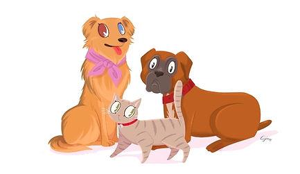Ilustracion de las mascotas de la familia