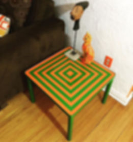 End table upgrade with custom paint job.