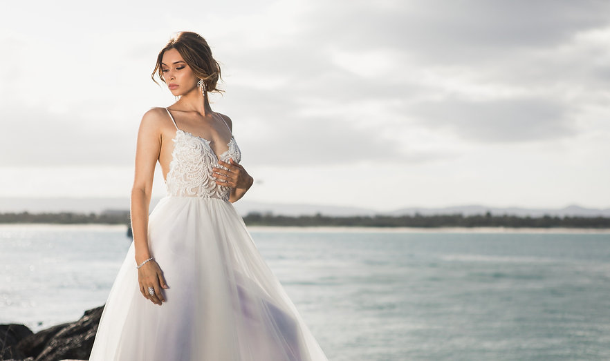 Bride in front of ocean