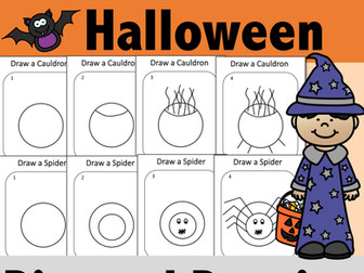 4 Halloween Directed Drawing Activities for Teletherapy or In-Person