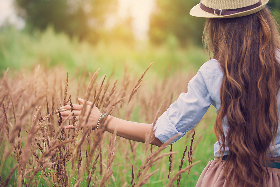 Beauty young girl outdoors enjoying natu