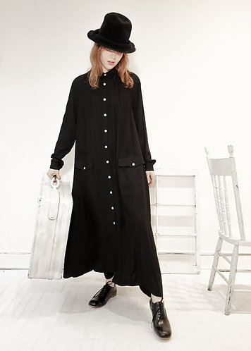 pin tucked maxi shirt dress