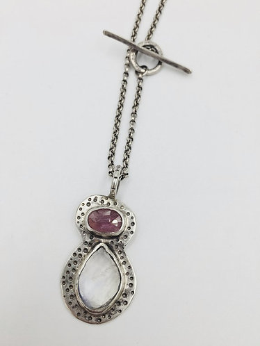 Ruby & Rainbow moonstone pendant on chain necklace