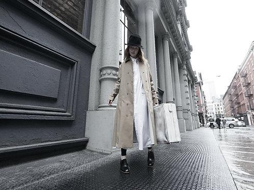Pleated double long jacket