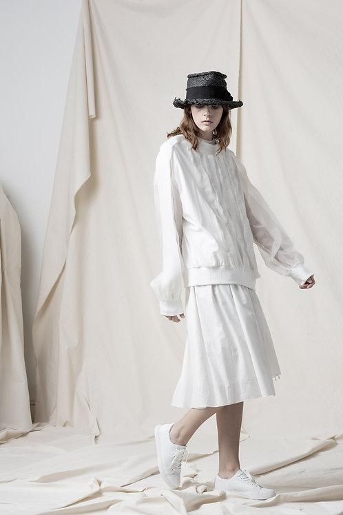 Silk frilled jersey top