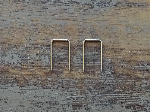 1/2'' Silver Square Arc Hoop Earrings