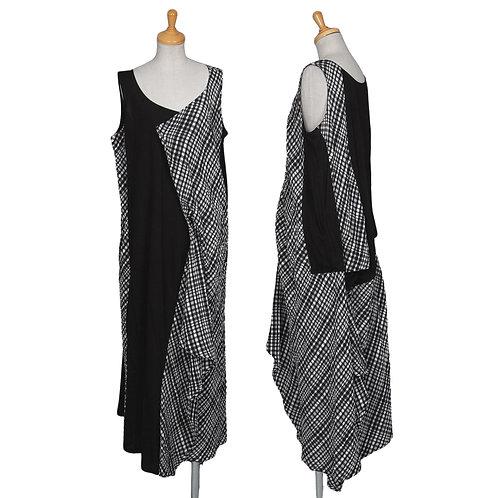 Yohji Yamamoto NOIR  Drape Sleeveless Dress with plaid