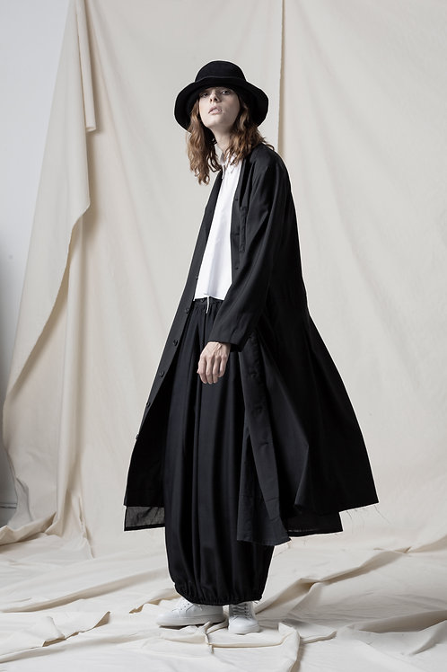 Back pleats long jacket with hand stitch