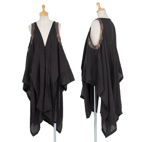 Yohji Yamamoto FEMME  Drape sleeveless Top with print