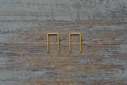 1/2'' Gold Square Arc  Hoop Earrings