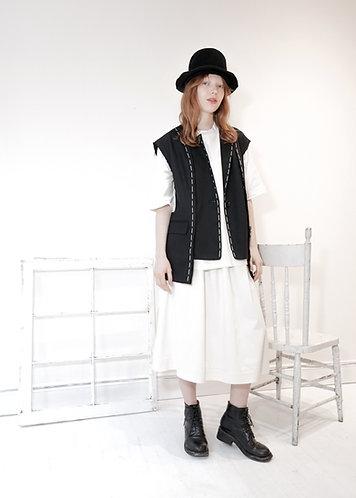 Asymmetric wool vest w/hand stitch