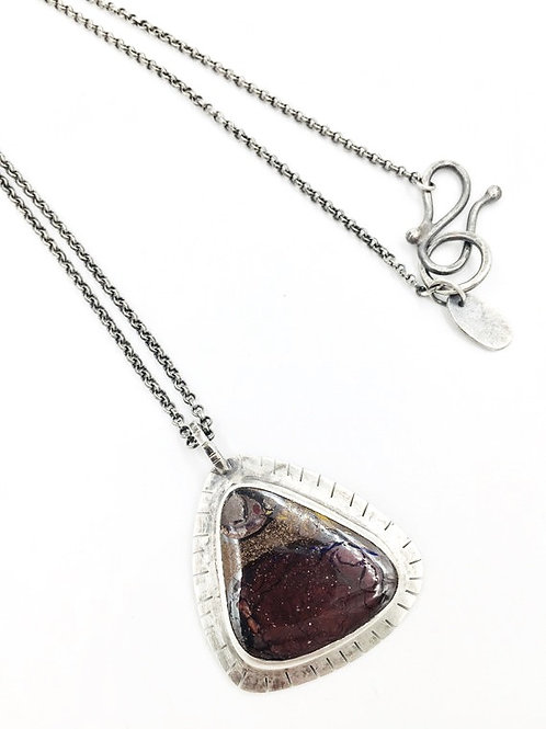 Boulder Opal pendant on chain Neckless _Red
