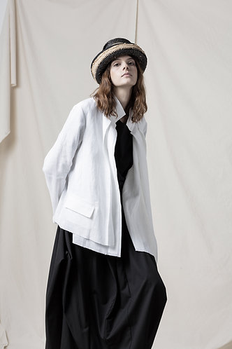 Asymmetric linen jacket
