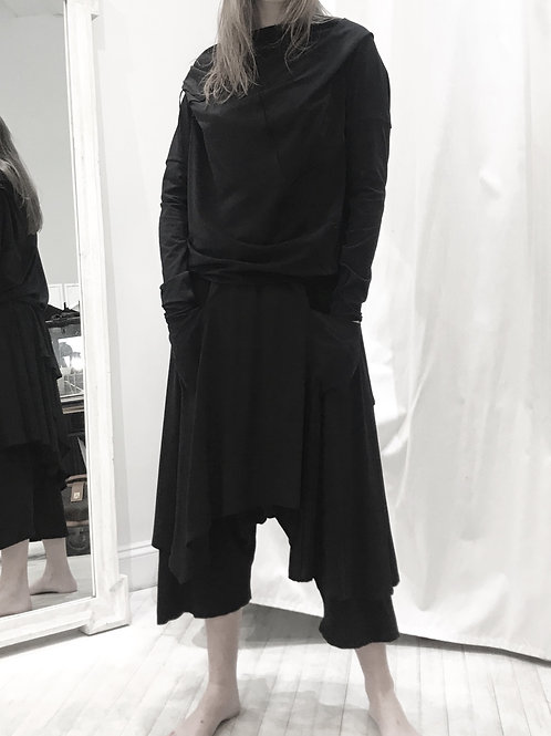 Asymmetric layered skirt Trousers