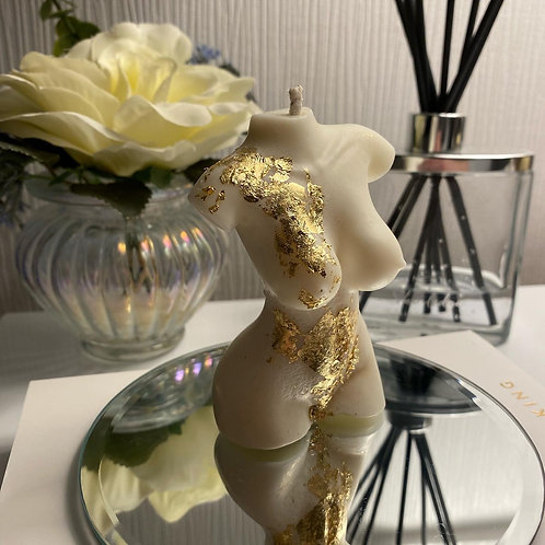 Scented Aphrodite Bust Soy Wax Candle With Gold or Silver