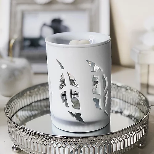 White Feather Cut Out Oil Burner