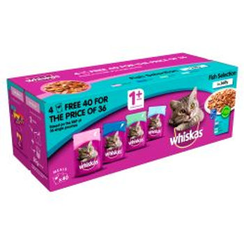WHISKAS 1+ Cat Pouches Fish Selection in Jelly 40 for 36 Mega Pack