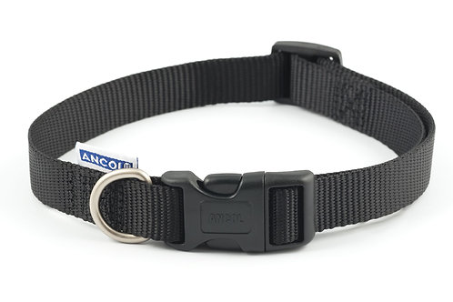 Ancol Nylon Adjustable Collar Black