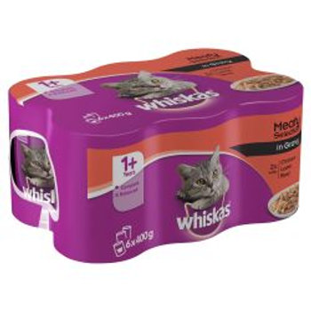 Whiskas 1+ Years Cat Can Meat Selection in Gravy 6 x 400g