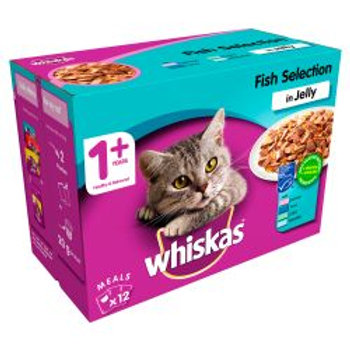 WHISKAS 1+ Cat Pouches Fish Selection in Jelly 12x100g pk, 100G